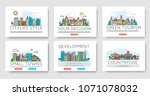 set of city skylines and... | Shutterstock .eps vector #1071078032