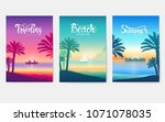happy vacation landscape... | Shutterstock .eps vector #1071078035