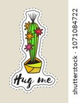 sticker with cactus in pot with ... | Shutterstock .eps vector #1071084722