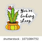 sticker with cactus in pot with ... | Shutterstock .eps vector #1071084752