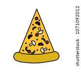 color delicious fresh pizza... | Shutterstock .eps vector #1071092012