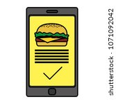 color smartphone with hamburger ... | Shutterstock .eps vector #1071092042