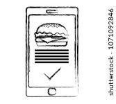 grunge smartphone with... | Shutterstock .eps vector #1071092846