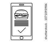 line smartphone with hamburger... | Shutterstock .eps vector #1071093986