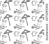 grunge handcart with watering... | Shutterstock .eps vector #1071095342