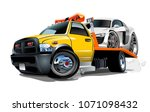 cartoon tow truck isolated on... | Shutterstock .eps vector #1071098432