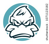 Angry Duck Head Mascot Bw...