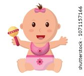 baby girl with diaper and... | Shutterstock .eps vector #1071157166