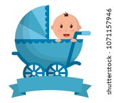baby boy cart with ribbon frame | Shutterstock .eps vector #1071157946