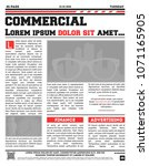 newspaper page mockup with red... | Shutterstock .eps vector #1071165905