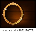beautiful wood oval frame... | Shutterstock .eps vector #1071170072
