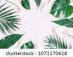 summer tropical composition.... | Shutterstock . vector #1071170618