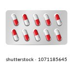 realistic pills blister with... | Shutterstock .eps vector #1071185645