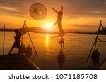 fishermen working time with... | Shutterstock . vector #1071185708