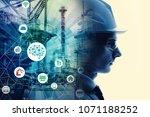 industrial technology concept.... | Shutterstock . vector #1071188252