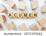 Small photo of ACUMEN word on wooden cubes