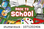 back to school with study... | Shutterstock .eps vector #1071202406