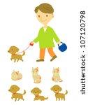 Stock vector dog walker 107120798