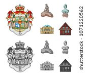 National, symbol, drawing, and other web icon in cartoon,monochrome style. Denmark, attributes, style, icons in set collection.