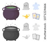 a witch cauldron  a tombstone ... | Shutterstock .eps vector #1071224666