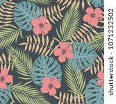 tropical background with palm... | Shutterstock .eps vector #1071232502