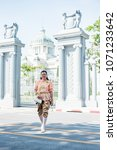 women wear thailand national...   Shutterstock . vector #1071233642
