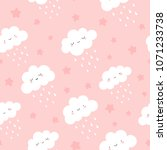 cute clouds with rain drops... | Shutterstock .eps vector #1071233738