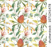 tropical floral print  orange... | Shutterstock . vector #1071241478