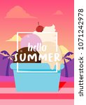 hello summer banner with ice... | Shutterstock .eps vector #1071242978