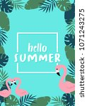 hello summer banner with... | Shutterstock .eps vector #1071243275