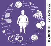 fat boy  badminton rackets and... | Shutterstock .eps vector #1071246992