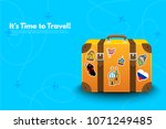 it s time to travel.travel bag  ... | Shutterstock .eps vector #1071249485