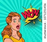 pop art surprised girl with... | Shutterstock .eps vector #1071251456