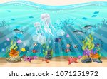 beautiful jellyfish in the... | Shutterstock .eps vector #1071251972