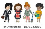 diverse mother character with... | Shutterstock .eps vector #1071252092