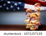 American Burgers Beef Background Flag - Fine Art prints
