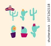 hand drawn cactus icons. can be ... | Shutterstock .eps vector #1071262118