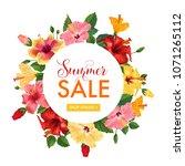 summer sale floral banner.... | Shutterstock .eps vector #1071265112