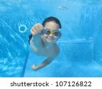 A Boy Is Swimming Underwater I...