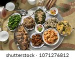 vietnamese family lunch set ... | Shutterstock . vector #1071276812