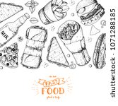 fast food hand drawn sketch... | Shutterstock .eps vector #1071288185