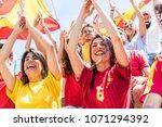spanish supporters cheering... | Shutterstock . vector #1071294392