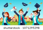students with congratulations... | Shutterstock .eps vector #1071295298