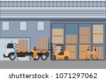 workers man loading the truck...   Shutterstock .eps vector #1071297062