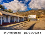 Small photo of Dunlap, California, USA - January 5, 2018 : Gena's Sierra Inn motel and restaurant located near the entrance of the Sequoia National Park in the beautiful mountains of Sierra Nevada.