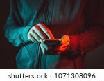 smartphone in male hands  close ... | Shutterstock . vector #1071308096