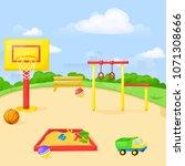 playground park cartoon vector... | Shutterstock .eps vector #1071308666