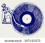 record player vinyl record | Shutterstock .eps vector #107132372