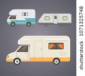 retro camper trailer collection.... | Shutterstock . vector #1071325748