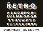 80's retro alphabet font.... | Shutterstock .eps vector #1071327296